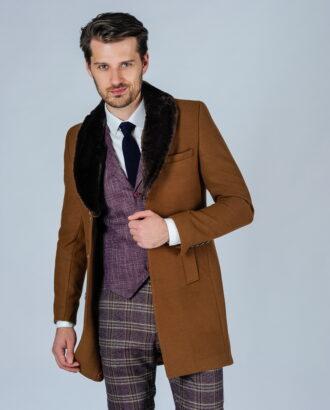 Мужское пальто с меховым воротником. Арт.:1-118-1