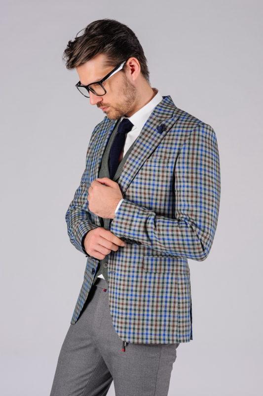 Стильный мужской пиджак в мелкую клетку. Арт.:2-103-4