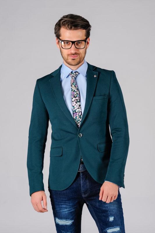 Укороченный пиджак цвета морской волны. Арт.:2-107-4