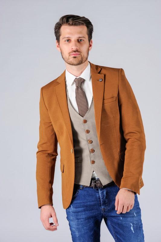 Приталенный пиджак горчичного цвета. Арт.:2-111-4