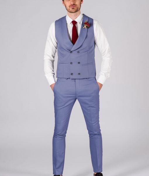 Синий костюм из хлопка (жилет и брюки) S-115BB