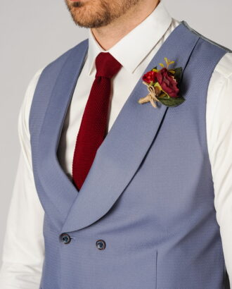 Синий костюм из хлопка (жилет и брюки). Арт.:4-115-4