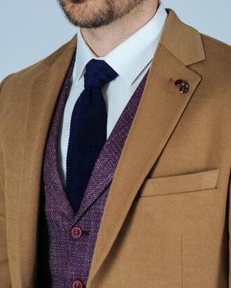 Приталенный мужской пиджак горчичного цвета. Арт.:2-118-1