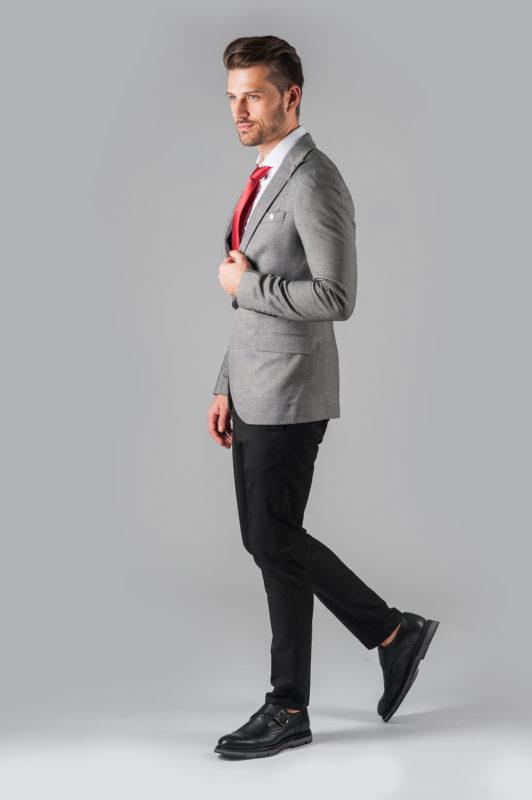 Серый мужской пиджак одну пуговицу. Арт.:2-303-6