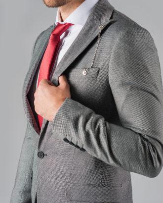 Серый мужской пиджак одну пуговицу J-303FC