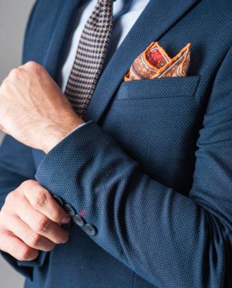 Мужской кэжуал пиджак синего цвета J-315SC