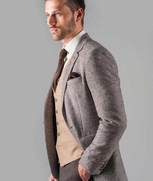 Стильный фактурный пиджак коричневого цвета. Арт.:2-318-2