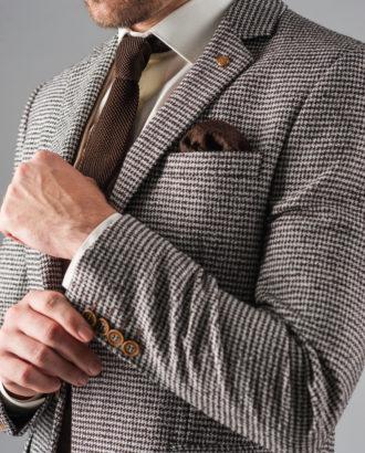 Стильный  фактурный пиджак коричневого цвета J-318FR
