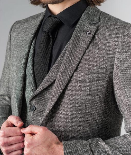 Костюм-тройка серого цвета. Арт.:4-207-1
