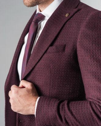 Укороченный мужской пиджак цвета бордо. Арт.:2-208-5