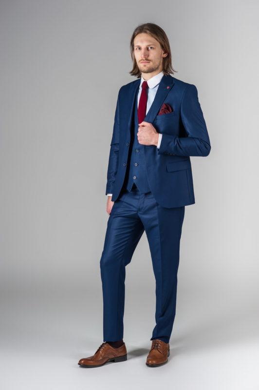 Синий костюм-тройка из хлопка. Арт.:4-209-1
