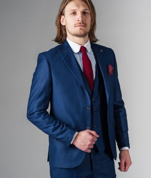 Синий костюм-тройка из хлопка S-209SC