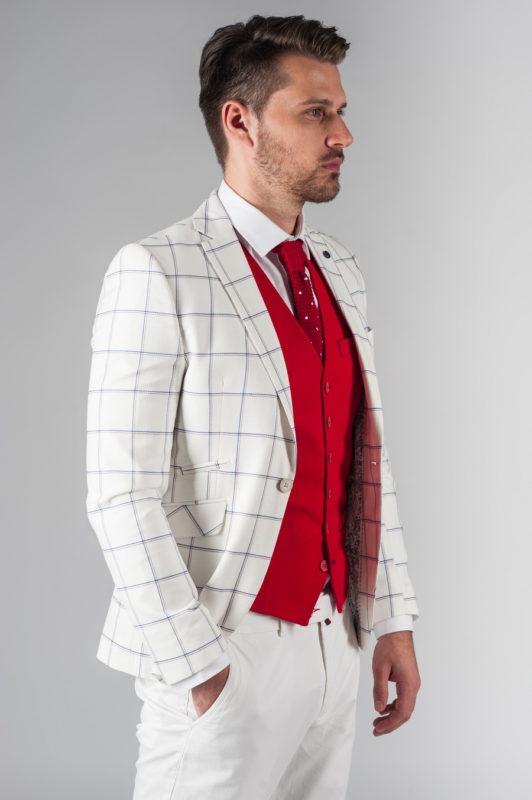 Светлый мужской пиджак в клетку. Арт.:2-214-3