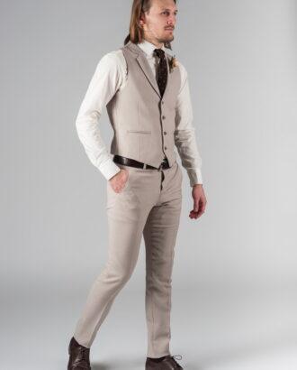 Костюм двойка бежевого цвета (жилет и брюки) S-217OW