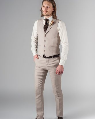 Костюм двойка бежевого цвета (жилет и брюки). Арт.:4-217-5