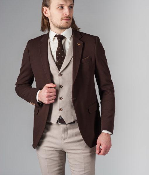 Приталенный пиджак мужской коричневого цвета J-217FR