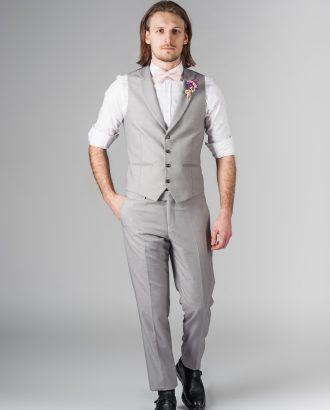 Костюм-двойка из жилета и брюк серого цвета. Арт.:4-218-5
