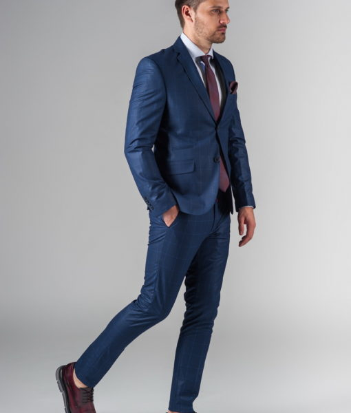 Приталенный темно-синий костюм-двойка S-219SM