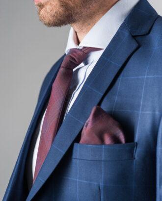 Приталенный темно-синий костюм-двойка. Арт.:4-219-3