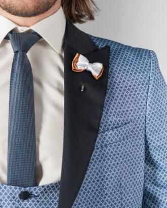 Оригинальный костюм-тройка синего цвета S-220BB