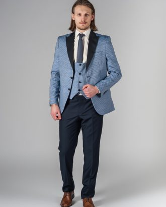Оригинальный костюм-тройка синего цвета. Арт.:4-220-4