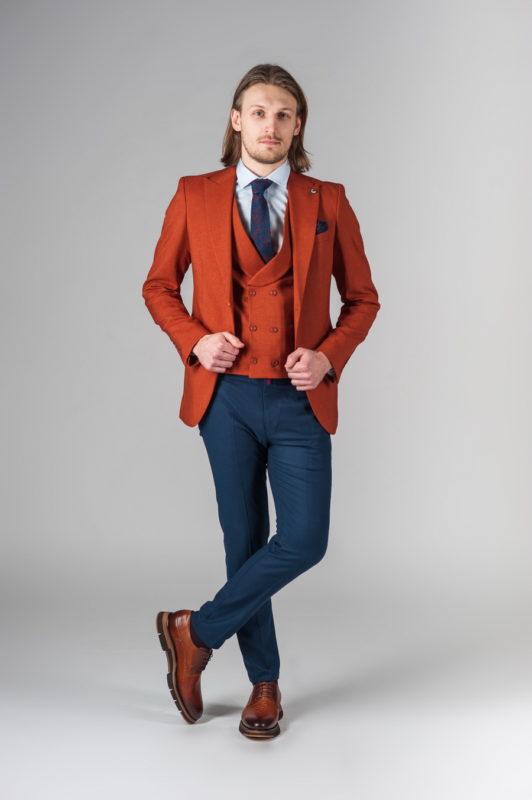 Костюм (пиджак и жилет) терракотового цвета. Арт.:4-222-4