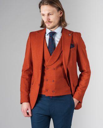 Костюм (пиджака и жилет) терракотового цвета. Арт.:4-222-4