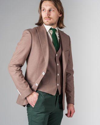 Коричневый костюм из хлопка (пиджак и жилет). Арт.:4-225-4