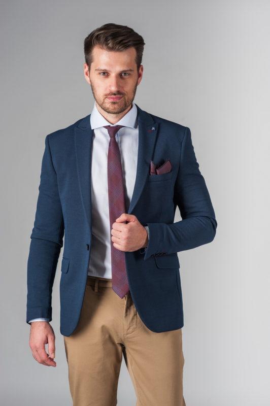 Мужской укороченный пиджак синего цвета. Арт.:2-226-1