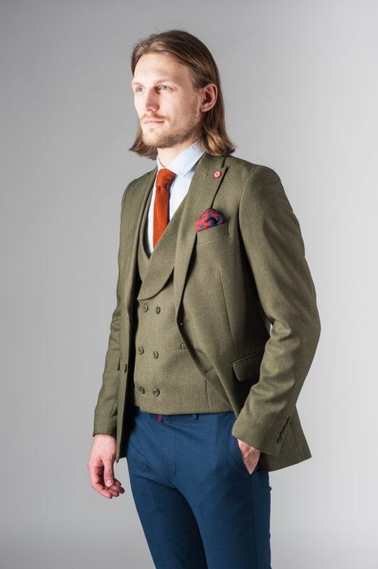 Зеленый костюм-двойка из хлопка (пиджак и жилет). Арт.:4-227-4
