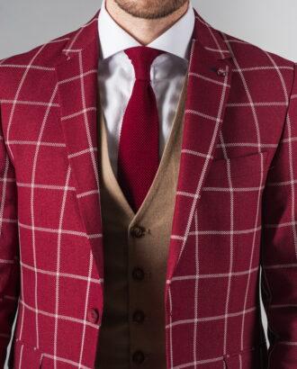 Бордовый пиджак в крупную клетку. Арт.:2-228-1