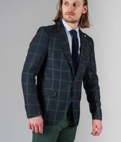 Тёмно-синий пиджак в зеленую клетку. Арт.:2-231-6