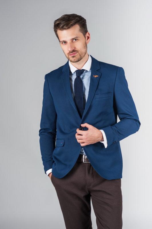 Укороченный мужской пиджак синего цвета. Арт.:2-236-2