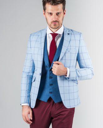 Клетчатый пиджак голубого цвета. Арт.:2-238-3