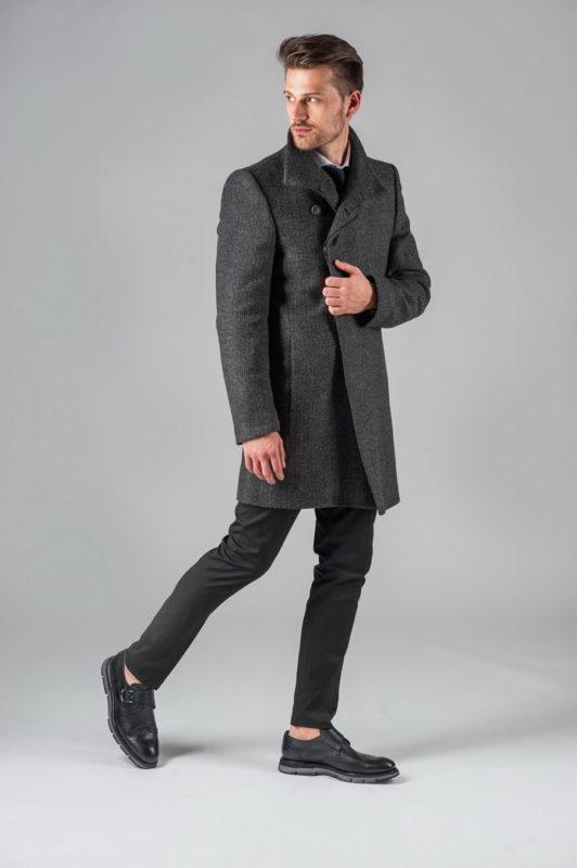 Демисезонное пальто графитового цвета. Арт.:1-301-2