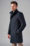 Демисезонное приталенное пальто с ассиметричным бортом_1