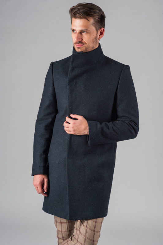 Демисезонное приталенное пальто с асимметричным бортом. Арт.:1-314-2