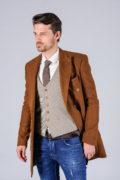Двубортное пальто цвета camel_03