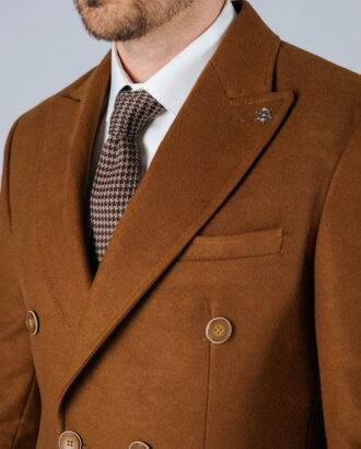 Мужское пальто горчичного цвета. Арт.:1-111-1