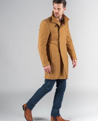 Пальто с асимметричным бортом цвета кэмел