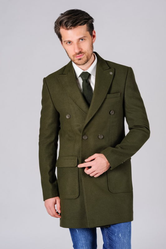 Двубортное мужское пальто зеленого цвета. Арт.:1-110-1