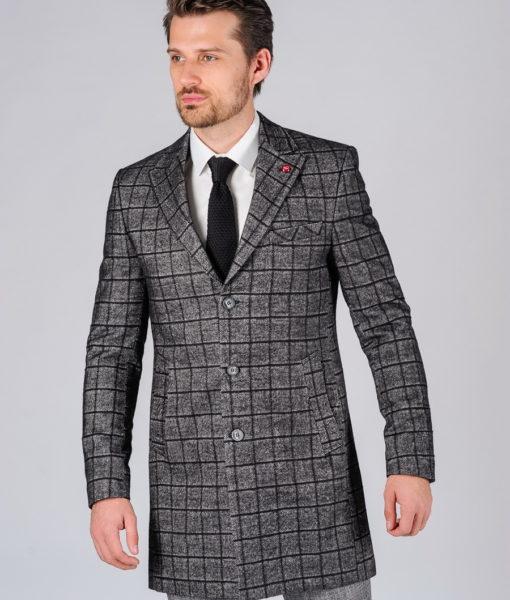 Приталенное пальто в клетку. Арт.:1-114-1