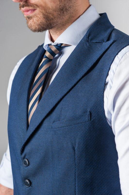 Синяя мужская жилетка под рубашку. Арт.:3-226-3