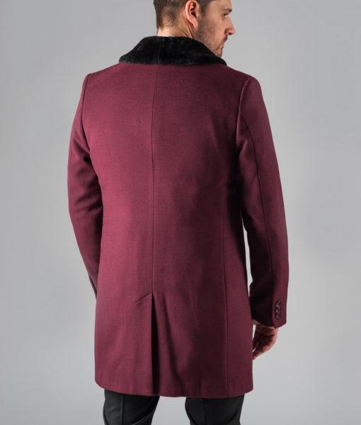 Зимнее мужское пальто бордового цвета. Арт.:1-302-10