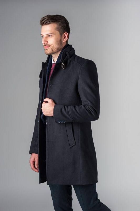 Приталенное мужское пальто темно-синего цвета. Арт.:1-215-1