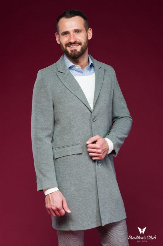 Мужское пальто серого цвета. Арт.:1-437-6