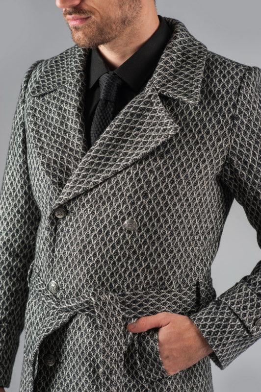 Двубортное мужское пальто с поясом. Арт.:1-305-1