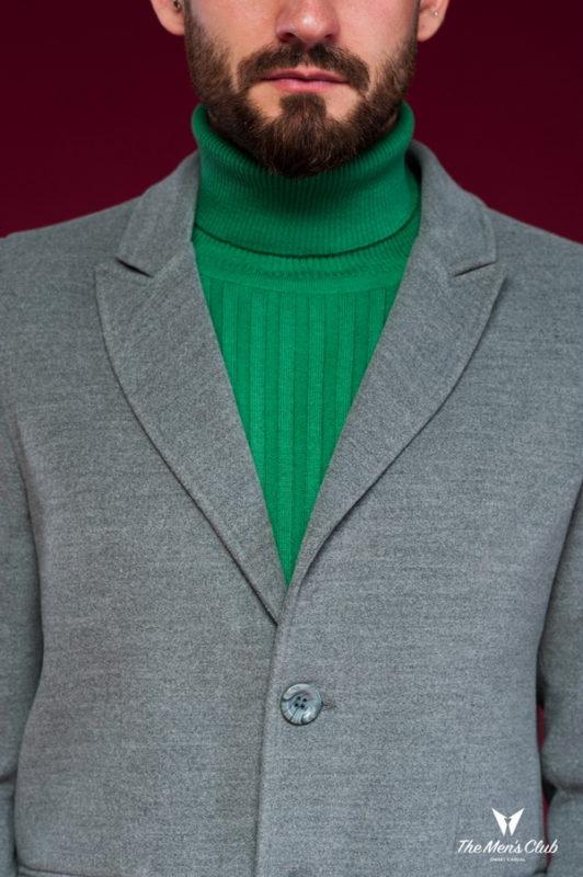 Классическое мужское пальто серого цвета. Арт.:1-445-6