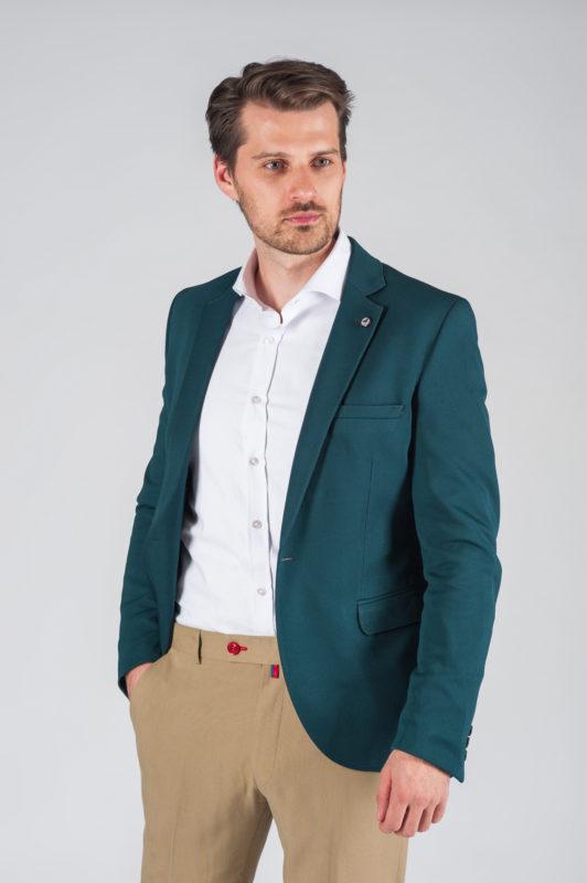 Зеленый мужской приталенный пиджак Арт.:2-021-4