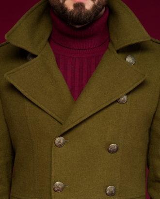 Пальто бушлат цвета хаки